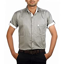Aaduki Men's Casual Grey Shirt-40