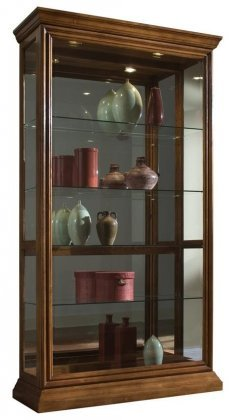 Pulaski Two Way Sliding Door Curio, 43 by 16 by 80-Inch, Medium Brown Veneer Classic 2 Door Cabinet