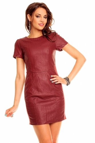 Chic et Jeune Leder Kleid Lederimitat Businesskleid Kostüm Minikleid Lederkleid - 2 40 Bordeaux