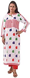 New Pinch Trends Women's Synthetic 3/4 Sleeve Kurti (NPTAV-ApplewhiteRed1003_L, White, Large)
