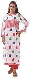 New Pinch Trends Women's Synthetic 3/4 Sleeve Kurti (NPTAV-ApplewhiteRed1003_M, White, Medium)