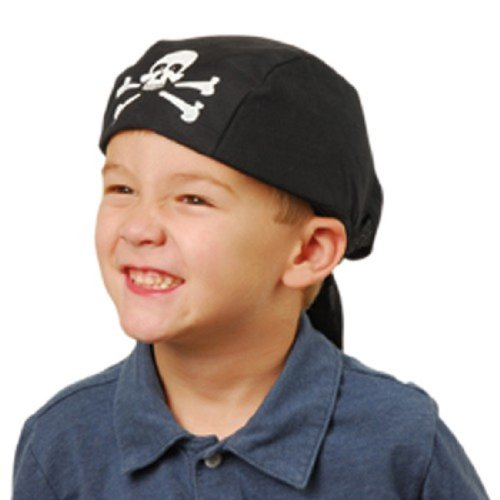 Lot Of 12 Black And White Pirate Theme Bandana Caps
