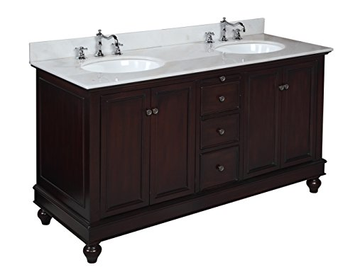 Bella 60-inch Double Bathroom Vanity (White/Chocolate): Includes a Chocolate Cabinet with Soft Close Drawers, White Marble Countertop, and Two Ceramic Sinks image