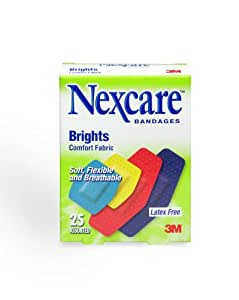 Nexcare Brights Comfort Fabric Bandages, Assorted Sizes, 25 ct Packages