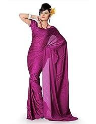 Designersareez Women Crepe Jacquard Printed Dark Pink Saree With Unstitched Blouse(780)