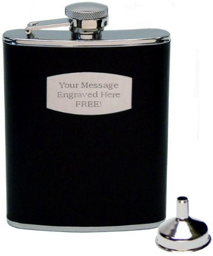 Personalised 6oz Black Leather Hip flask and funnel set Engraved