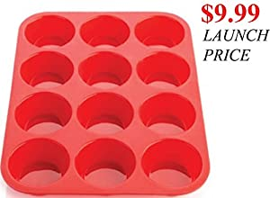 [LIMITED $9.99 LAUNCH OFFER] 12 Cup Keliwa Premium Silicone Muffin & Cupcake Baking Pan BPA Free - 100% Red Food Grade Silicone Large Non-stick -Oven, Microwave, Dishwasher, Freezer Safe - Heat Resistant up to 450° F - Easy to Clean - Best Top baking Pan