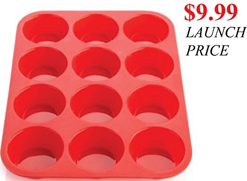 [Limited $9.99 Launch Offer] 12 Cup Keliwa Premium Silicone Muffin And Cupcake Baking Pan - 100% Red Food Grade Silicone Large Non-Stick - Oven, Microwave, Dishwasher, Freezer Safe - Heat Resistant Up To 450 Degrees F - Easy To Clean - Best Top Baking Pan