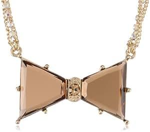 "Betsey Johnson ""Iconic Summer Metallics"" Crystal Bow Pendant Necklace, 20"""