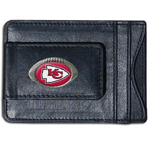 Kansas City Chiefs Fine Leather Money Clip - Black by SiskiyouGifts