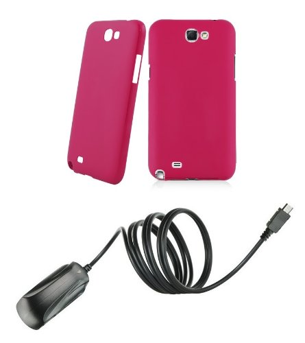 Samsung Galaxy Note Ii - Accessory Kit - Magenta Pink Slim Fit Back Cover Case + Atom Led Keychain Light + Micro Usb Wall Charger