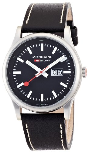 Mondaine - Reloj unisex de cuarzo, correa de piel color negro