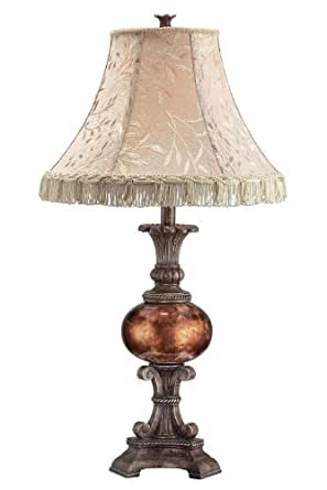 Lite Source C41190 Table Lamp, Antique Bronze with 7.5-Inch High Fabric Shade with Tassel