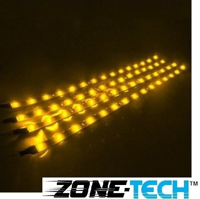 Zone Tech 30Cm Led Car Flexible Waterproof Light Strip Yellow (Pack Of 4)