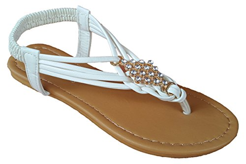 5d9ae15ea Elegant Women s Fashion White Color Gladiator Thong Flat Cute Sandals With  Rhinestones White 5