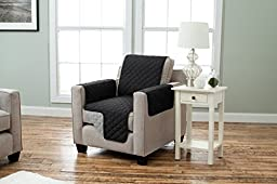Deluxe Reversible Quilted Furniture Protector. Two Fresh Looks in One. By Home Fashion Designs. (Chair, Black / Grey)
