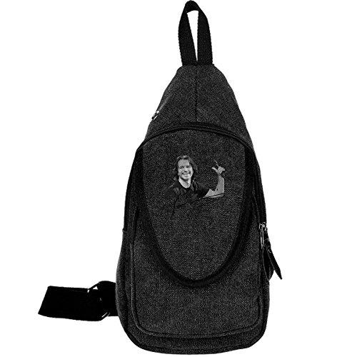 Black Yanni Casual Canvas Chest Bag For Sport