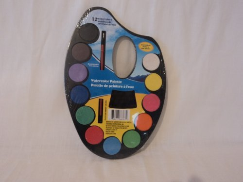 Watercolor Palette with Brush - 12 Colors by Greenbrier - 1