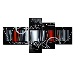 Pyradecor Large Size 100% Hand-painted Wood Framed Red Back Clouds Home Decoration Modern Abstract Oil Painting on Canvas 4pcs/set