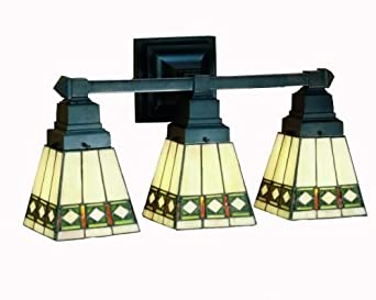 Stained Glass Vanity Light Fixtures : Diamond Mission Tiffany Stained Glass Bathroom Lighting Vanity Fixture 20 Inches W - - Amazon.com