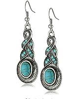 Yazilind bijoux charme ethnique tibetain ovale argent rimous Turquoise baisse cristal Boucle oreille en cadeau