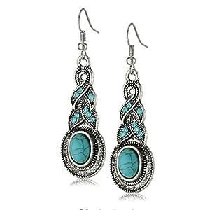 Yazilind Ethnic Tibetan Silver Oval Rimous Turquoise Crystal Drop Dangle Earrings