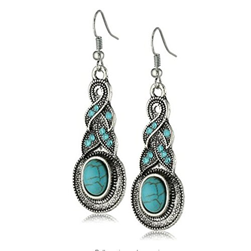 Yazilind Ethnic Tibetan Silver Oval Rimous Turquoise Crystal Drop Dangle Earrings