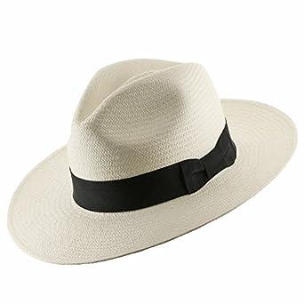 Authentic Classic Fedora Style Straw Panama Hat Handwoven in Ecuador