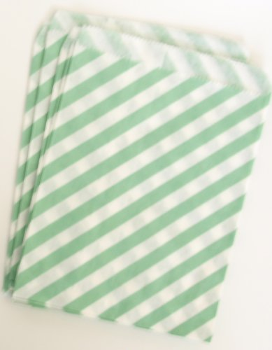 Party Favors For Kids Birthday, Sea Green Stripe (25 Pack) - Goody Bag, Loot Sacks, Or Candy Bags For Guests To Fill And Take front-792600