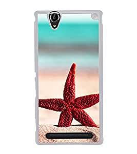 Red Star Fish 2D Hard Polycarbonate Designer Back Case Cover for Sony Xperia T2 Ultra :: Sony Xperia T2 Ultra Dual SIM D5322 :: Sony Xperia T2 Ultra XM50h