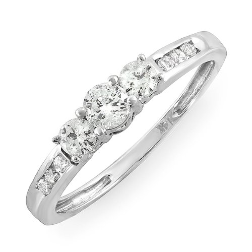 0.35 Carat (ctw) Thin 14k White Gold Round Diamond