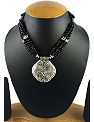 Aradhya Designer High Quality German Silver And Black Colour Stone Beads Necklace For Women And Girls