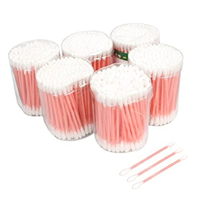 Disposable Double End Pink Plastic Tube Cotton Swab Bud Earwax Remover 6 Packs