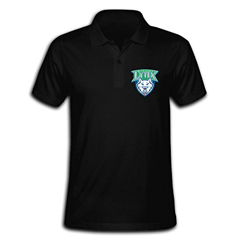 Men's Minnesota Lynx Solid Short Sleeve Pique Polo Shirt Black US Size L (Lil Lynx compare prices)