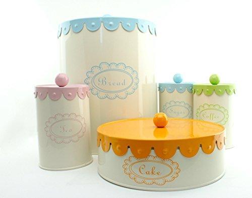 5 Piece Set Containers, Bread Box, Cake, Coffee, Tea & Sugar Canisters - Cream Complete Kitchen Organizer