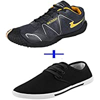 Bersache COMBO Pack Of 2 Pair Men/Boy Black Sports Shoes With Casual Shoes