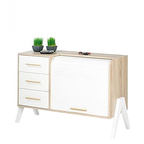 SIMMOB–Mueble de entrada vintage cortina blanco 3cajones blancos