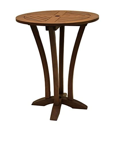 Outdoor Interiors Eucalyptus Round Bar Table, Brown