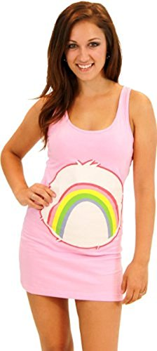 Care Bears Cheer Bear Pink Costume Tunic Tank Dress (Cheer Bear) - Six Colours - Juniors (Small Lady) Sizes