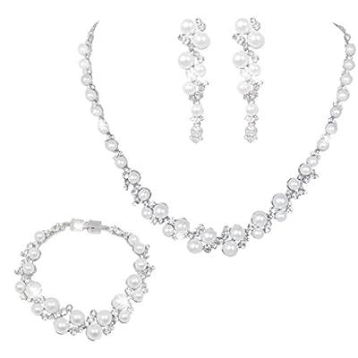 EVER FAITH Bridal Simulated Pearl Necklace Earrings Bracelet Set Austrian Crystal