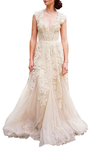 ASA Bridal Women's Vintage Cap Sleeve Lace A Line Wedding Dresses Bridal Gowns-C12