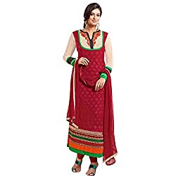 Shayona Women's Georgette Semi Stitched Dress Material_SSE9003SRK_Red_Free Size