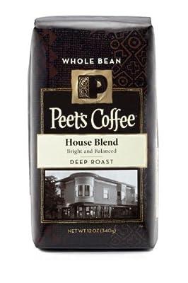 Peet's Coffee, House Blend, Deep Roast, Whole Bean Coffee, 12oz Bag (Pack of 2)
