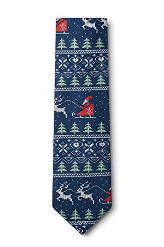 Ugly Christmas Sweater Navy Blue Microfiber Tie (Ugly Ties For Men compare prices)