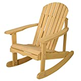 Goplus® Outdoor Natural Fir Wood Adirondack Rocking Chair Patio Deck Garden Furniture