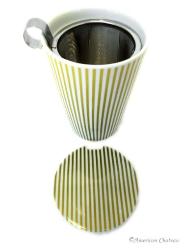 12 Oz Double-Walled Wall Striped Insulated Tea Mug Cup With Infuser Basket