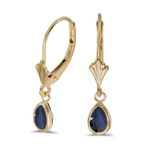 14k-Yellow-Gold-Pear-Sapphire-Bezel-Lever-back-Earrings