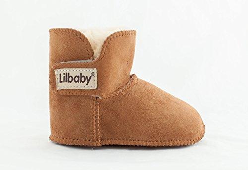 Lilbaby Bergen Merino Sheepskin Baby Bootie (100% PURE Australian Sheepskin, Calf Suede, Velcro Fastener),Brown,6-12 Months