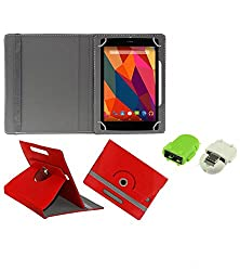 Gadget Decor (TM) PU Leather Rotating 360° Flip Case Cover With Stand For Zen Ultratab A700 + Free Robot USB On-The-Go OTG Reader - Red