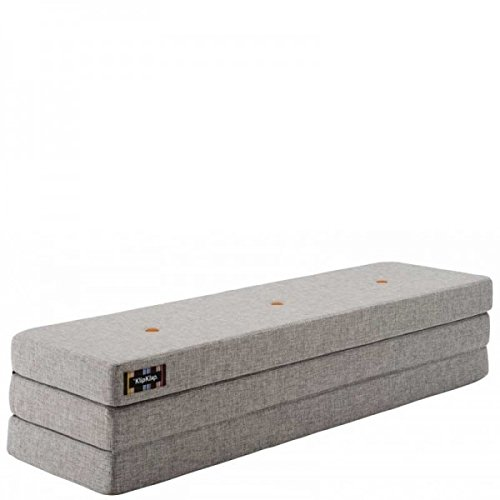 by KlipKlap 3 fold Multipurpose Furniture - Multigrey With Orange Button, Normal length 180 cm